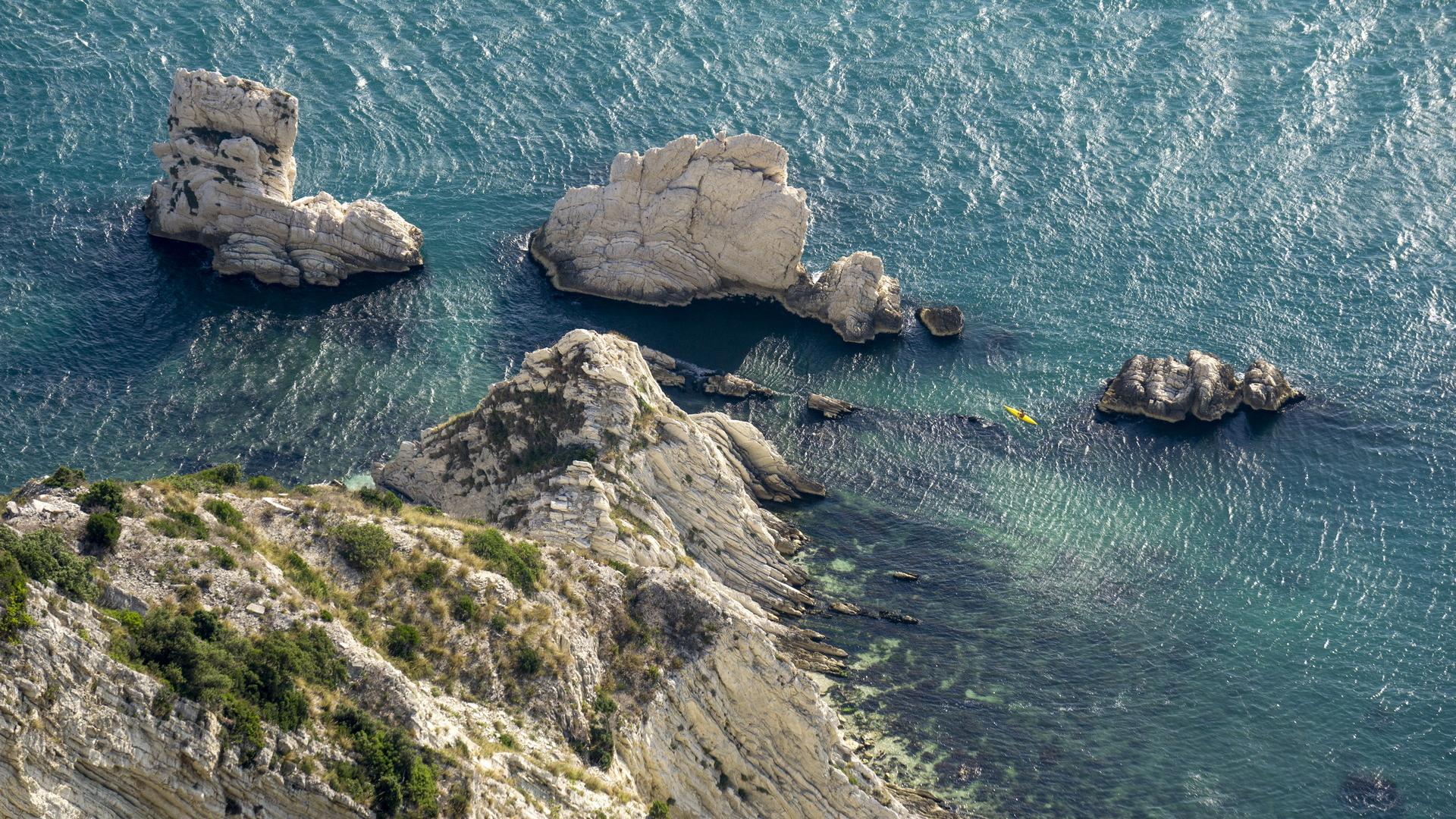 Conero, Belvedere Sud, panorama zoom sulle Due Sorelle © Sauro Strappato